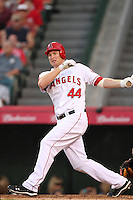 Los Angeles Angels first baseman Mark Trumbo #44 bats against the Baltimore Orioles at Angel Stadium on August 20, 2011 in Anaheim,California. Los Angeles defeated Baltimore 9-8.(Larry Goren/Four Seam Images)