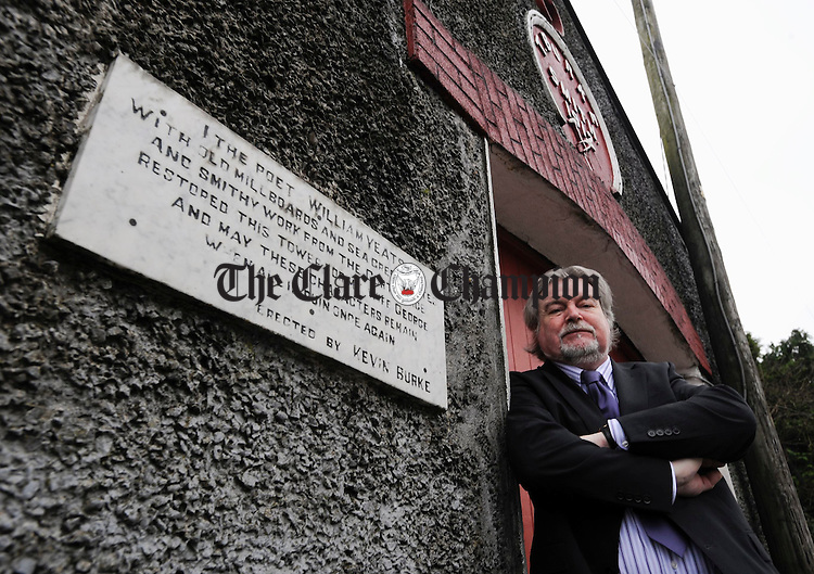 Fred Johnston, director of the Western Writers Centre outside the Old Forge in Gort. Photograph by John Kelly.