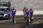 Groupama-FDJ team mates on the final climb of Stage 3 of the 2021 UAE Tour running 166km from Al Ain to Jebel Hafeet, Abu Dhabi, UAE. 23rd February 2021.  <br /> Picture: Eoin Clarke | Cyclefile<br /> <br /> All photos usage must carry mandatory copyright credit (© Cyclefile | Eoin Clarke)