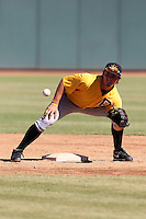 Mesa Solar Sox second baseman Jarek Cunningham #3 during practice before an Arizona Fall League game against the Phoenix Desert Dogs at Phoenix Municipal Stadium on October 31, 2011 in Phoenix, Arizona.  Mesa defeated Phoenix 3-1.  (Mike Janes/Four Seam Images)