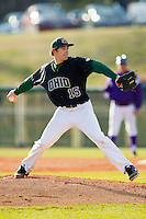 Ohio Bobcats relief pitcher Nick Plys (15) in action against the High Point Panthers at Willard Stadium on March 6, 2013 in High Point, North Carolina.  The Panthers defeated the Bobcats 4-1.  (Brian Westerholt/Four Seam Images)