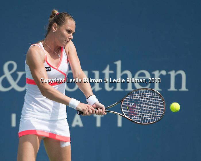 Magdalena Rybarikova (SVK) loses to Victoria Azarenka (BLR), 6-3, 6-4, at the Western & Southern Open in Mason, OH on August 15, 2013.