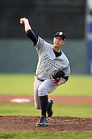 Staten Island Yankees pitcher Jordan Cote (18) delivers a pitch during a game against the Batavia Muckdogs on August 7, 2014 at Dwyer Stadium in Batavia, New York.  Staten Island defeated Batavia 2-1.  (Mike Janes/Four Seam Images)