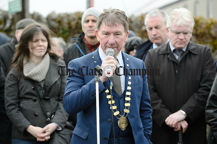 Peter Roche, Cathaoirleach Galway County Council speaking at the unveiling of a commemorative stone in memory of the Kinvara Company Irish Volunteers. Photograph by John Kelly.