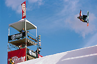 Whistler, BC, British Columbia, Canada - Freestyle Skier competing at Big Air Ski Competition