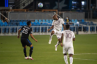SAN JOSE, CA - SEPTEMBER 05: Collen Warner #32 heads the ball during a game between Colorado Rapids and San Jose Earthquakes at Earthquakes Stadium on September 05, 2020 in San Jose, California.