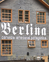 View of building exterior of Berlina Craft Beer brewery Factory, Bariloche, Argentina