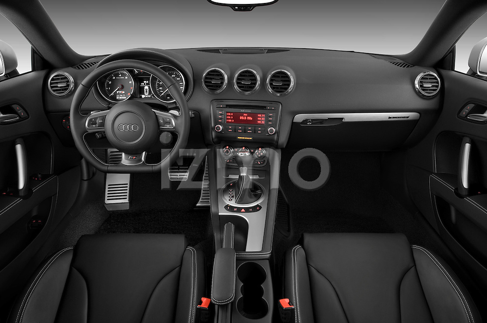 Straight dashboard view of a 2010 Audi TTS Coupe.