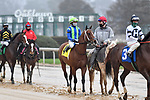February 27, 2021: #4, Jackie's Warrior in the post parade for the Southwest Stakes (Grade 3) at Oaklawn Park in Hot Springs, Arkansas. Ted McClenning/Eclipse Sportswire/CSM