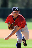 Pitcher Matt Marksberry (48) of the Atlanta Braves farm system in a Minor League Spring Training workout on Monday, March 16, 2015, at the ESPN Wide World of Sports Complex in Lake Buena Vista, Florida. (Tom Priddy/Four Seam Images)
