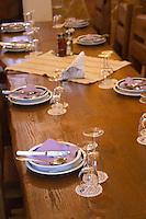 Lunch table set at the restaurant at the winery. Podrum Vinoteka Sivric winery, Citluk, near Mostar. Federation Bosne i Hercegovine. Bosnia Herzegovina, Europe.