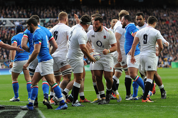 Ellis Genge of England congratulates Jamie George of England after he scores a try during the Guinness Six Nations match between England and Italy at Twickenham Stadium on Saturday 9th March 2019 (Photo by Rob Munro/Stewart Communications)