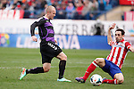 Atletico de Madrid´s Diego Godin (R) and Real Valladolid´s Larsson during La Liga match at Vicente Calderon stadium in Madrid, Spain. February 15, 2014. (ALTERPHOTOS/Victor Blanco)