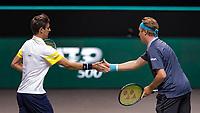 Rotterdam, The Netherlands, 6 march  2021, ABNAMRO World Tennis Tournament, Ahoy,  <br /> Semi final doubles: Henri Kontinen (FIN) / Edouard Roger-Vasselin (FRA).<br /> Photo: www.tennisimages.com/henkkoster