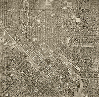 historical aerial photo map of Fresno, California, 1946