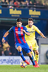 Luis Suarez of FC Barcelona fights for the ball with Mario Gaspar Pérez Martínez of Villarreal CF during their La Liga match between Villarreal and FC Barcelona at the Estadio de la Cerámica on 08 January 2017 in Villarreal, Spain. Photo by Maria Jose Segovia Carmona / Power Sport Images