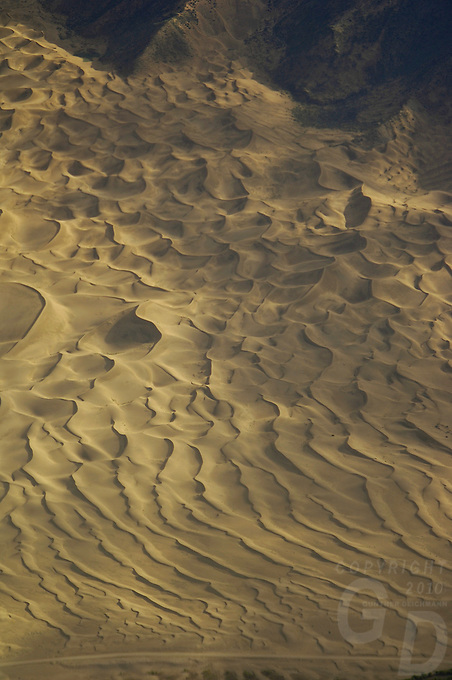 Huge sand dunes in the valleys near Lhasa Tibet during the approch by commercial aircraft, about 15 minutes before landing,