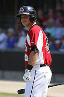 Devin Mesoraco #36 of the Carolina Mudcats in the on deck circle during a game against the West Tenn Diamond Jaxx on May 30, 2010 in Zebulon, NC.