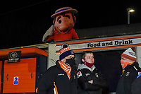 Luton Town club mascot looks over supporters arriving for the Sky Bet Championship match played with 1000 supporters in attendance as a test event after the government relaxed covid-19 sport guidelines in tier 2, between Luton Town and Norwich City at Kenilworth Road, Luton, England on 2 December 2020. Photo by David Horn.