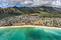 An aerial view of Waimanalo Beach and its surrounding neighborhood backed by the Ko'olau Mountains, O'ahu.