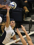 Nevada's Grace Anxo hits during an NCAA women's college volleyball match against Seattle University in Reno, Nev., on Thursday, Oct. 20, 2011. Nevada won 3-0..Photo by Cathleen Allison