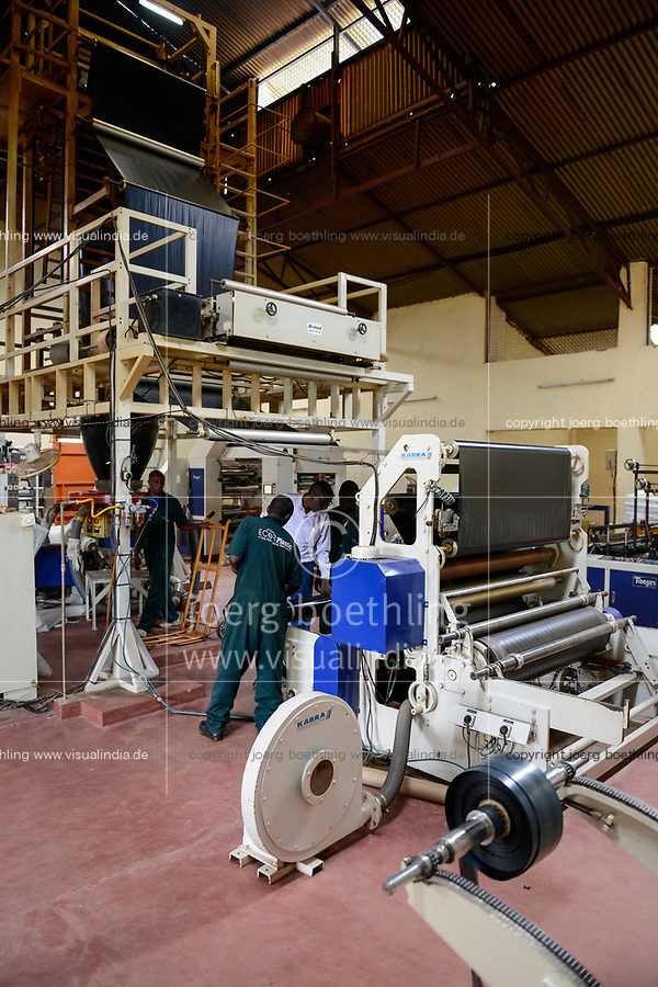 RWANDA, Kigali, plastic recycling at company Ecoplastics, machine Kabra for production of new plastic foils from recycled and new granules