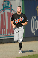 Matt Hobgood #34 of the Bluefield Orioles gets his running in at Burlington Athletic Park June 30, 2009 in Burlington, North Carolina. (Photo by Brian Westerholt / Four Seam Images)