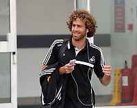 Wednesday 28 August 2013<br /> Pictured: Jose Canas at Cardiff Airport.<br /> Re: Swansea City FC players and staff en route for their UEFA Europa League, play off round, 2nd leg, against Petrolul Ploiesti in Romania.