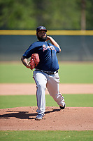 Atlanta Braves pitcher Luiz Gohara (94) during a Minor League Extended Spring Training game against the Tampa Bay Rays on April 15, 2019 at CoolToday Park Training Complex in North Port, Florida.  (Mike Janes/Four Seam Images)