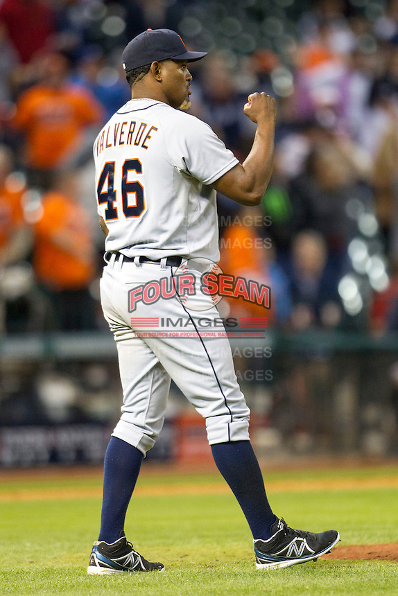 Detroit Tigers pitcher Jose Valverde (46) celebrates the end of the MLB baseball game against the Houston Astros on May 3, 2013 at Minute Maid Park in Houston, Texas. Detroit defeated Houston 4-3. (Andrew Woolley/Four Seam Images).