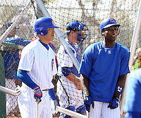 Kosuke Fukudome & Alfonso Soriano. Chicago Cubs spring training workouts at Fitch Park complex, Mesa, AZ - 03/01/2010.Photo by:  Bill Mitchell/Four Seam Images.