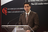February 4, 2013  Photo - Montreal, Quebec, CANADA -<br /> Peter Cassar, Co-Founder and CEO of SherWeb, at the Canadian Club of Montreal's podium -  Speech title: Managing Hypergrowth.<br /> <br /> Since they began, SherWeb founders, Peter and Matthew Cassar, have leveraged the Internet's key role in communications. Their company has made remarkable strides in recent years. In fact, SherWeb now services 20,000 customers in nearly 100 countries. Their dynamic team has achieved Technology Fast 50 ranking for the last three years.