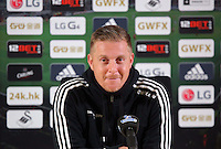 Pictured: Swansea manager Garry Monk gives a press conference ahead of his team's game against Leicester, at the Liberty Stadium, UK. Thursday 03 December 2015