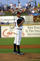 Houston Astros pitcher Andy Pettitte (37) looks to his catcher for the sign during his second rehab start with the Round Rock Express of the Texas League on June 23, 2004 at the Dell Diamond in Round Rock, Texas. (Andrew Woolley/Four Seam Images)