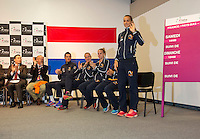 Arena Loire,  Trélazé,  France, 14 April, 2016, Semifinal FedCup, France-Netherlands, Draw,  <br /> Photo: Henk Koster/Tennisimages