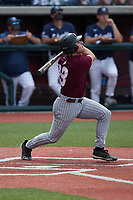 Jacob Mulcahy (18) of the Bellarmine Knights follows through on his swing against the Liberty Flames at Liberty Baseball Stadium on March 9, 2021 in Lynchburg, VA. (Brian Westerholt/Four Seam Images)