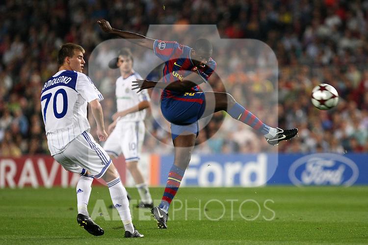 FC Barcelona's Toure Yaya during the UEFA Champions League match.September 29 2009. (ALTERPHOTOS/Acero).