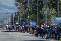 Fans at the finish line for the Carterton-Martinborough-Gladstone circuit, on day two of the 2018 NZ Age Group Road Cycling Championships in Carterton, New Zealand on Sunday, 22 April 2018. Photo: Dave Lintott / lintottphoto.co.nz