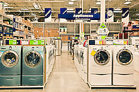 Washers and dryers in a Lowes superstore.