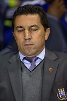 R.S.C Anderlecht Manager Besnik Hasi closes his eyes during the UEFA Europa League Group J match between Tottenham Hotspur and R.S.C. Anderlecht at White Hart Lane, London, England on 5 November 2015. Photo by Andy Rowland.
