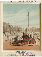 Horse drawn fire engine Trafalgar Square / Unattributed design on a music sheet 'The Fireman's Polka' by Charles Macdona / circa 1860