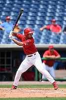 Clearwater Threshers third baseman Harold Martinez (11) during a game against the Dunedin Blue Jays on April 6, 2014 at Bright House Field in Clearwater, Florida.  Dunedin defeated Clearwater 5-2.  (Mike Janes/Four Seam Images)