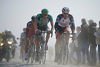 111th Paris-Roubaix 2013..Fabian Cancellara (CHE) & Damien Gaudin (FRA) at the front.