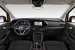 Stock photo of straight dashboard view of 2021 Volkswagen Caddy Style 5 Door Mini MPV Dashboard