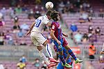 FC Barcelona's Gavi (r) and Getafe CF's Nemanja Maksimovic during La Liga match. August 29, 2021. (ALTERPHOTOS/Acero)