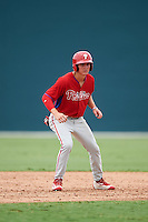 GCL Phillies center fielder Mickey Moniak (15) leads off second base during a game against the GCL Pirates on August 6, 2016 at Pirate City in Bradenton, Florida.  GCL Phillies defeated the GCL Pirates 4-1.  (Mike Janes/Four Seam Images)