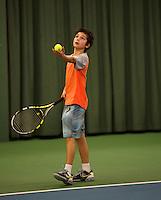 Rotterdam, The Netherlands, 07.03.2014. NOJK ,National Indoor Juniors Championships of 2014, Raphael Mujan (NED)  Jip van Assendelft (NED)<br /> Photo:Tennisimages/Henk Koster