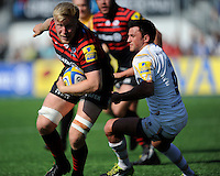 Jackson Wray of Saracens forces his way past Jonny Arr of Worcester Warriors during the Aviva Premiership match between Saracens and Worcester Warriors at Allianz Park on Saturday 3rd May 2014 (Photo by Rob Munro)