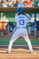 Jacob Amaya (13) of the Ogden Raptors bats against the Helena Brewers at Lindquist Field on July 14, 2018 in Ogden, Utah. Ogden defeated Helena 8-6. (Stephen Smith/Four Seam Images)