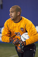 MetroStars goal keeper Tim Howard asks how much time is left in stoppage time as the NY/NJ MetroStars defeated the Dallas Burn 2-1 on 5/24/03 at Giant's Stadium, East Rutherford, NJ.